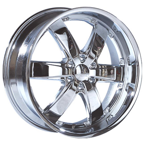 This is a beautiful wheel. When you wake up in the morning you will love to see this wheel on your vehicle. This wheel has 6 spokes and exposed lugs this wheel will chop the streets hard.